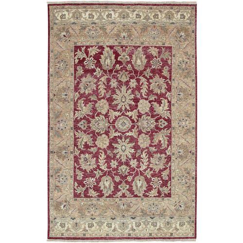 5.5' x 8.5' Floral Red and Brown New Zealand Wool Rectangular Area Throw Rug - IMAGE 1