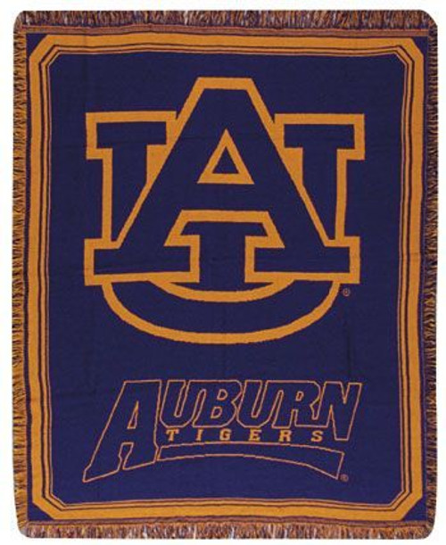 "Navy Blue and Orange Auburn University Tigers Afghan Throw Blanket 48"" x 60"" - IMAGE 1"