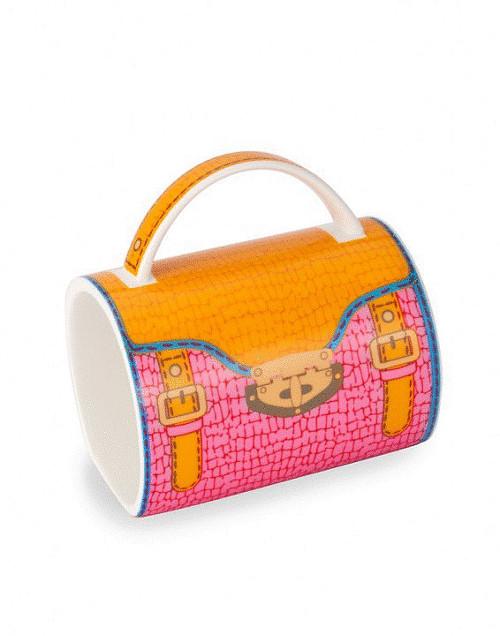 "5"" Fashion Avenue Orange and Pink Crocodile Pattern Ceramic Handbag Mug - IMAGE 1"