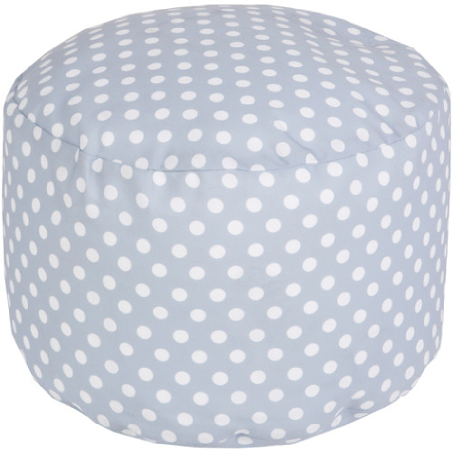 "20"" Ash Gray and Ivory Simply Polka Dot Round Outdoor Patio Pouf Ottoman - IMAGE 1"