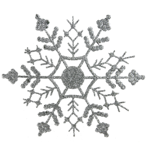 """12 count Silver Glitter Christmas Snowflake Ornaments 6.25"""" - IMAGE 1"""