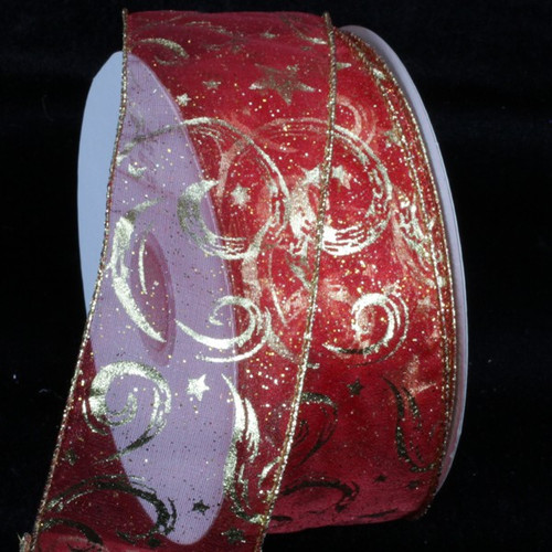 """Red and Gold Comet Wired Craft Ribbon 2"""" x 20 Yards - IMAGE 1"""