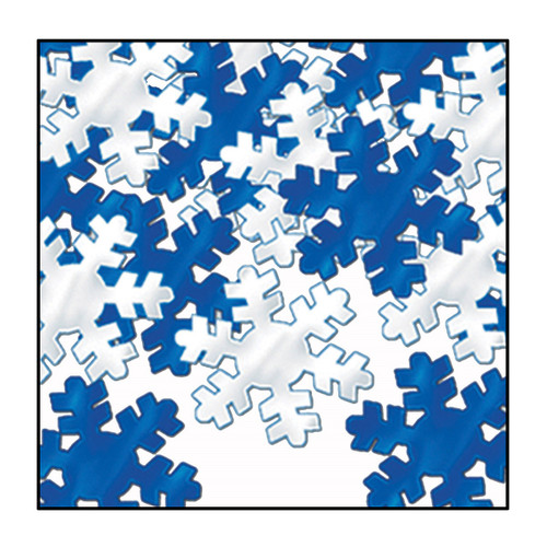 Club Pack of 12 Silver and Blue Snowflake Christmas Confetti Bags 1 oz. - IMAGE 1