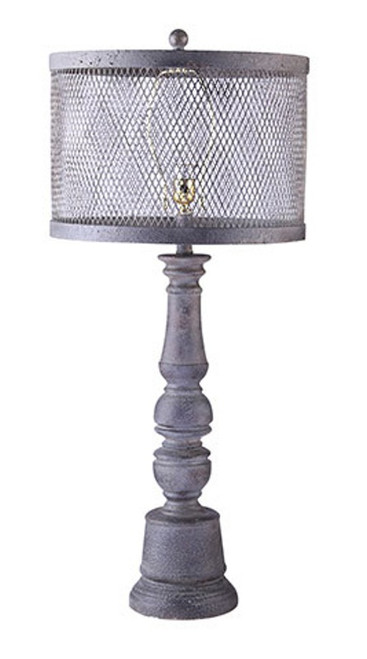"""34"""" Industrial Mateo Sculpted Distressed Finish Table Lamp with Mesh Drum Shade - IMAGE 1"""