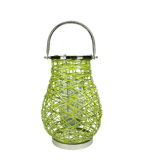 "18.5"" Modern Green Decorative Woven Iron Pillar Candle Lantern with Glass Hurricane - IMAGE 1"