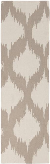 2.5' x 8' Bombilla Chamoisee Gray and Beige Hand Woven Rectangular Wool Area Throw Rug Runner - IMAGE 1