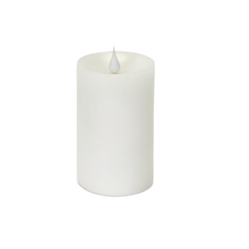 """5.25"""" Battery Operated White LED Flameless Pillar Candle with Moving Flame - IMAGE 1"""