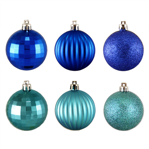 "100ct Peacock Blue Shatterproof 3-Finish Christmas Ball Ornaments 2.5"" (60mm) - IMAGE 1"
