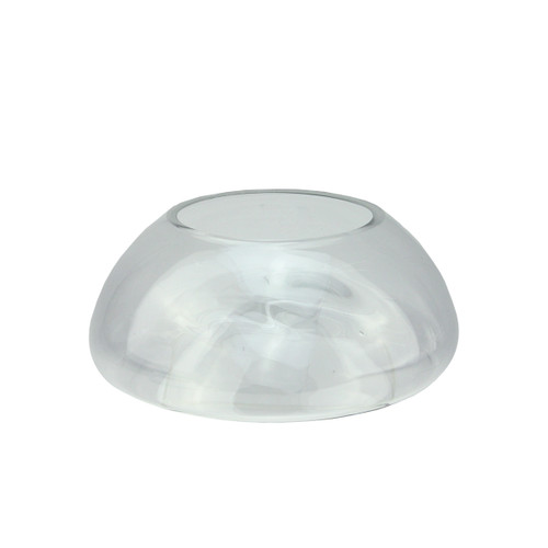 """9"""" Transparent Glass Pillar Candle Holder with Concave Interior - IMAGE 1"""