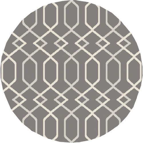 7.8' Entwine Passions Charcoal Gray and Ivory White Round Area Throw Rug - IMAGE 1