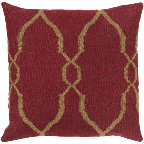 "22"" Red and Brown Square Contemporary Throw Pillow - IMAGE 1"
