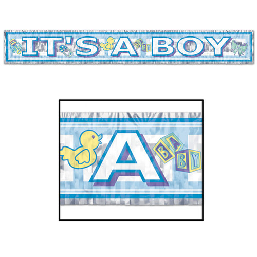 """Club Pack of 12 Yellow and Blue Boy Baby Shower Fringe Banner Hanging Decor 60"""" - IMAGE 1"""