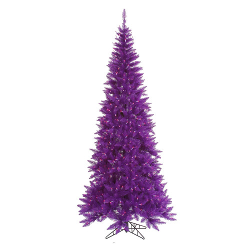 10' Pre-Lit Medium Ashley Spruce Artificial Christmas Tree - Clear and Purple Lights - IMAGE 1