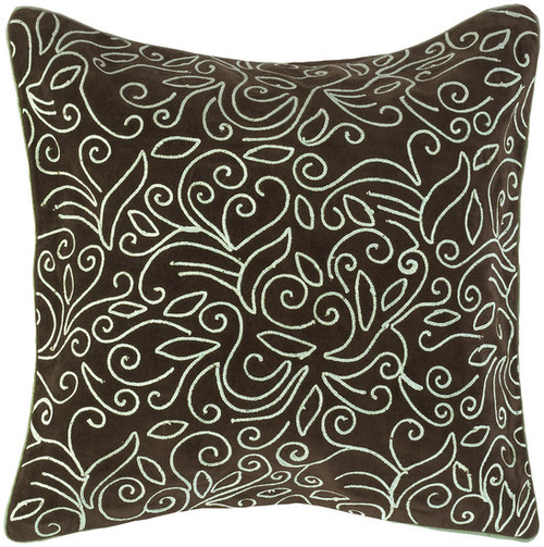 """18"""" Brown and Ivory Square Contemporary Throw Pillow - Down Filler - IMAGE 1"""