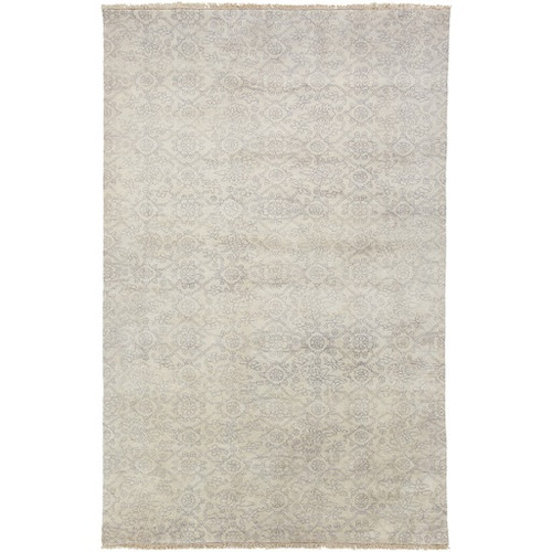 2' x 3' Sandy Sheet Gray and Beige Hand Knotted Rectangular New Zealand Wool Area Throw Rug - IMAGE 1