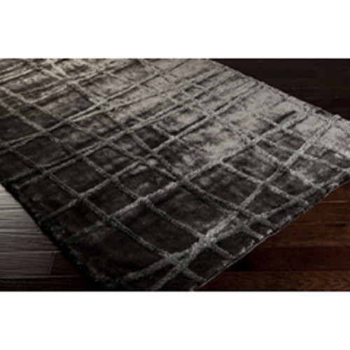 2' x 3' Plot Line Paradise Charcoal Gray and Taupe Brown Hand Woven Polyester Throw Rug - IMAGE 1