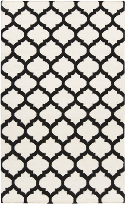 3.5' x 5.5' Moroccan Ivory and Black Hand Woven Wool Area Throw Rug - IMAGE 1
