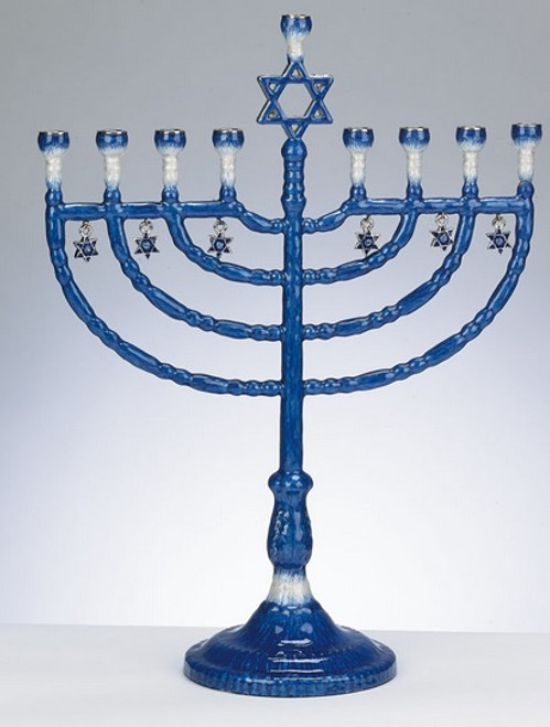 """12"""" Blue and White Enameled Hanukkah Menorah with Star of David Charms - IMAGE 1"""