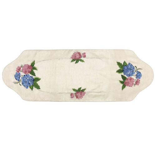 "12"" x 36"" White and Blue Hydrangea Flower Table Runner - IMAGE 1"
