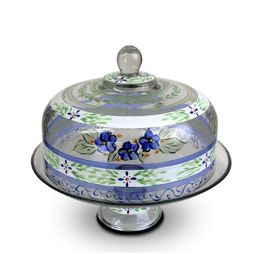 """Blue Floral Hand Painted Glass Convertible Cake Dome 11"""" - IMAGE 1"""