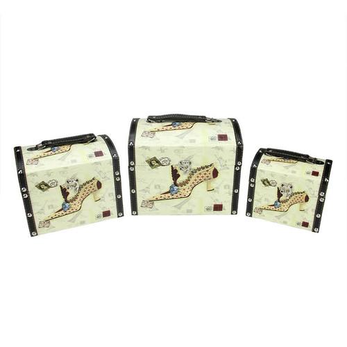 "Set of 3 Vintage-Style Stiletto Decorative Wooden Storage Boxes 10"" - IMAGE 1"
