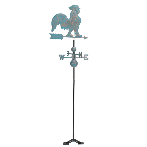 3' Weathered Patina Polished Rooster Outdoor Patio Weathervane - IMAGE 1