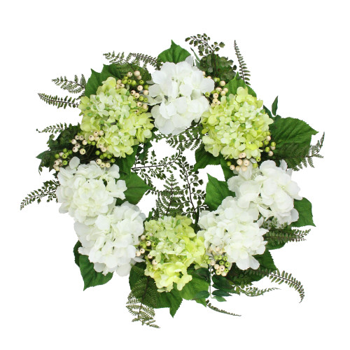 Hydrangea and Berry Artificial Floral Wreath, White 24-Inch - IMAGE 1