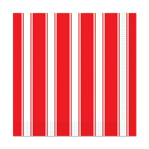 """Club Pack of 192 Red and White Striped Disposable Luncheon Party Napkins 6.5"""" - IMAGE 1"""