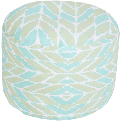 """20"""" Blue and Green Mint Wrapped Leaves Round Outdoor Patio Pouf Ottoman - IMAGE 1"""