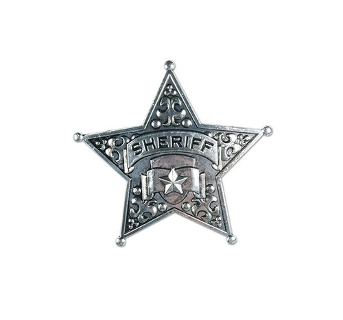 """Club Pack of 12 Silver Damask Sheriff Badge Costume Party Favors 2.5"""" - IMAGE 1"""