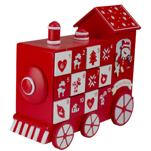 "10.5"" Red and White Vintage Advent Calendar Train Christmas Decor - IMAGE 1"
