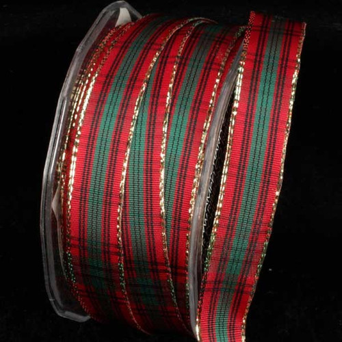 """Red and Black French Plaid Wired Craft Ribbon 0.5"""" x 54 Yards - IMAGE 1"""