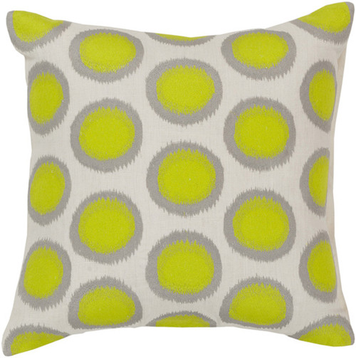 """22"""" Lime Green and Whisper White Contemporary Square Throw Pillow - IMAGE 1"""