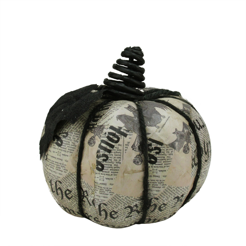 "7"" Black and Gray Glittered Newspaper Decoupage Halloween Pumpkin Decor - IMAGE 1"
