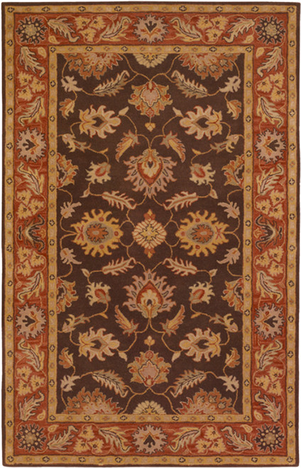8' x 10' Floral Brown and Red Oval Wool Area Throw Rug - IMAGE 1