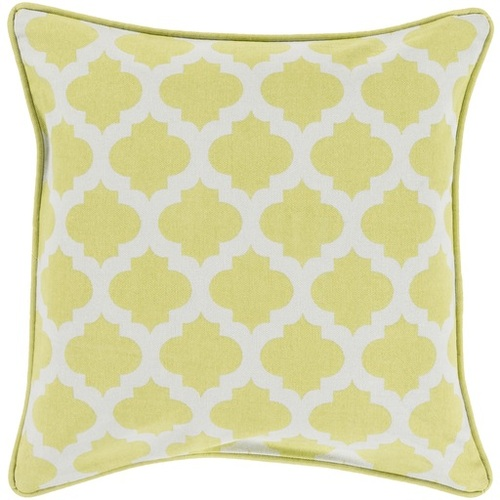 """20"""" Yellow and White Moroccan Square Throw Pillow - Down Filler - IMAGE 1"""