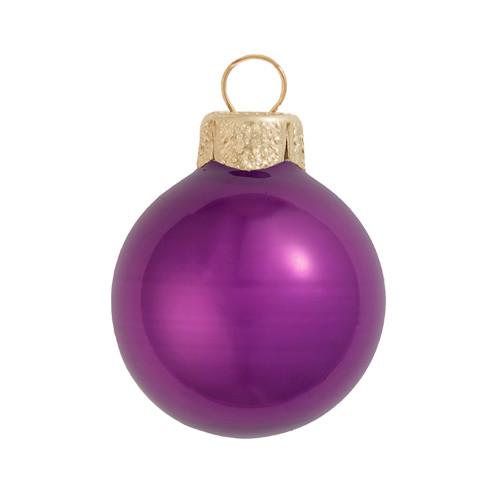 "12ct Purple Pearl Glass Christmas Ball Ornaments 2.75"" (65mm) - IMAGE 1"