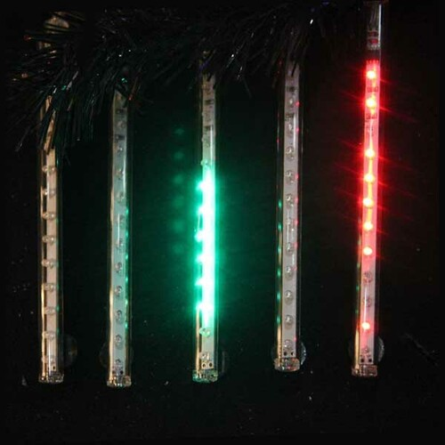 """Set of 5 Red and Green Double Sided Snowfall LED Christmas Icicle Light Tubes 33.5"""" - IMAGE 1"""