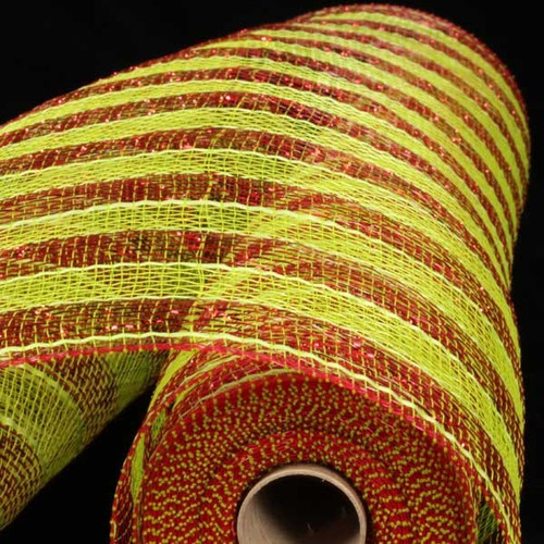 """Lime Green and Red Striped Deco Mesh Craft Ribbon 21"""" x 20 Yards - IMAGE 1"""