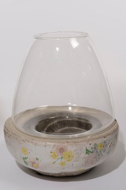"7"" Tea Garden Antique-Style Distressed Glazed Floral Glass Hurricane Pillar Candle Holder - IMAGE 1"