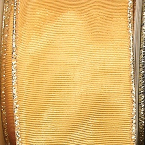 """Gold Symphony Moire Edge Wired Craft Ribbon 2"""" x 44 Yards - IMAGE 1"""