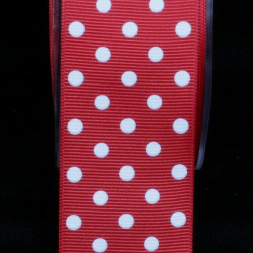 "Red and White Polka Dotted Grosgrain Craft Ribbon 1.5"" x 88 Yards - IMAGE 1"