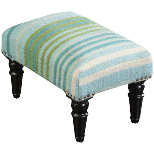 """18"""" Blue, Green and Ivory Striped Upholstered Wool and Wooden Foot Stool Ottoman - IMAGE 1"""