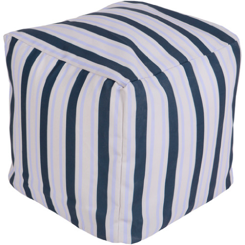 "18"" Cobalt Blue, Sky Blue and Gray Eclectic Striped Square Outdoor Patio Pouf Ottoman - IMAGE 1"