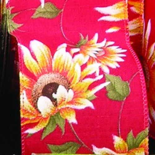 """Red and Yellow Sunflower Meadow Wire Edged Craft Ribbon 4"""" x 20 Yards - IMAGE 1"""