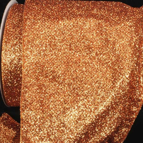 """Sparkling Copper Brown Glitter Wired Craft Ribbon 6"""" x 20 Yards - IMAGE 1"""