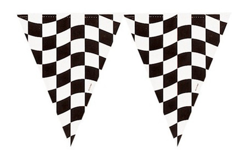 Club Pack of 12 Black and White Checkered Hanging Party Banner Flag Decorations 12' - IMAGE 1