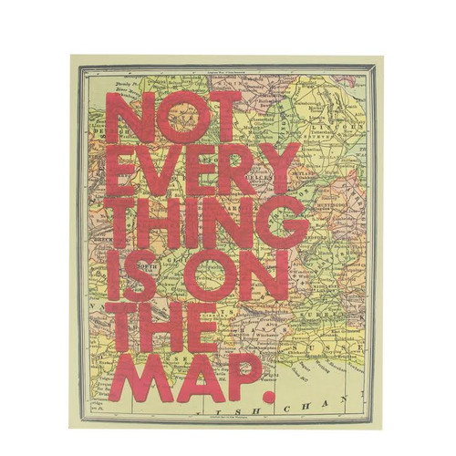 "12"" Inspirational Quote ""Not Every Thing Is On The Map"" Colorful Framed Atlas Map Hanging Wall Art - IMAGE 1"