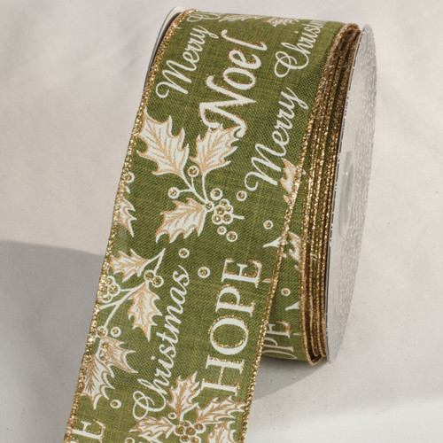 """Green and Gold Joy Print Wired Ribbon 2.5"""" x 20 Yards - IMAGE 1"""