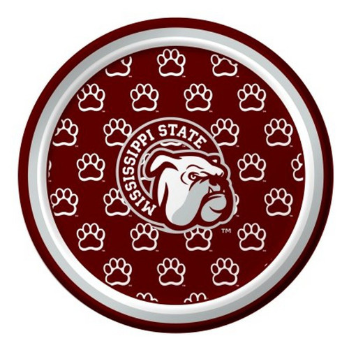 """Club Pack of 96 Red NCAA Mississippi State Bulldogs Disposable Party Luncheon Plates 7"""" - IMAGE 1"""